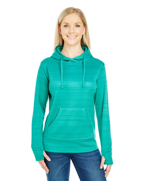 J America Ladies' Odyssey Striped Poly Fleece Lapover Hood - JA8662