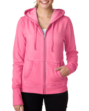 J America Ladies' Oasis Wash Full-Zip Hood - JA8665