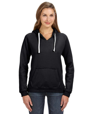 J America Ladies' Sydney Brushed V-Neck Hood - JA8836