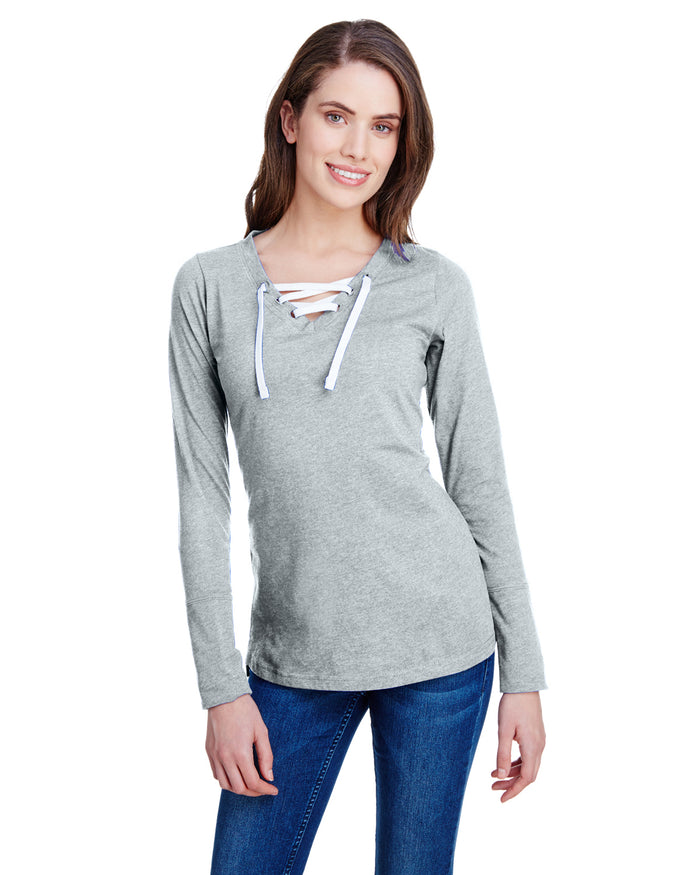 LAT Ladies' Long Sleeve Fine Jersey Lace-Up T-Shirt - LA3538