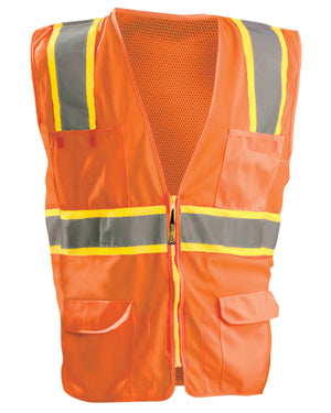OccuNomix Men's High Visibility Classic Two-Tone Surveyor Safety Mesh Vest - LUXATR