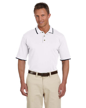 Harriton Adult 6 oz. Short-Sleeve Piqué Polo with Tipping - M210