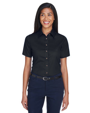 Harriton Ladies' Easy Blend™ Short-Sleeve Twill Shirt with Stain-Release - M500SW