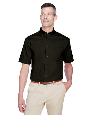 Harriton Men's Easy Blend™ Short-Sleeve Twill Shirt with Stain-Release - M500S