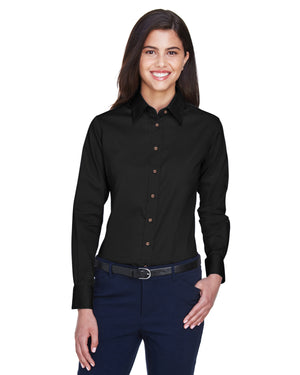 Harriton Ladies' Easy Blend™ Long-Sleeve Twill Shirt with Stain-Release - M500W