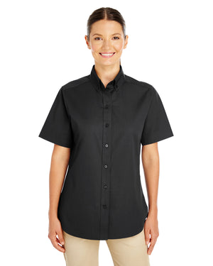 Harriton Ladies' Foundation 100% Cotton Short-Sleeve Twill Shirt with Teflon™ - M582W