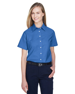 Harriton Ladies' Short-Sleeve Oxford with Stain-Release - M600SW