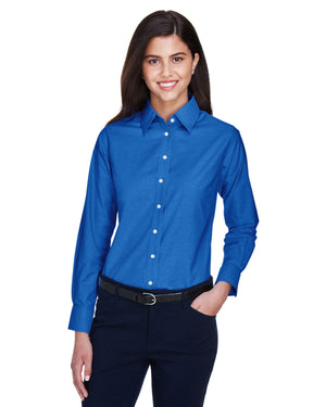 Harriton Ladies' Long-Sleeve Oxford with Stain-Release - M600W