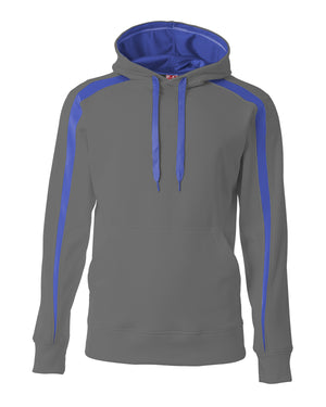 A4 Men's Spartan Tech-Fleece Color Block Hooded Sweatshirt - N4004