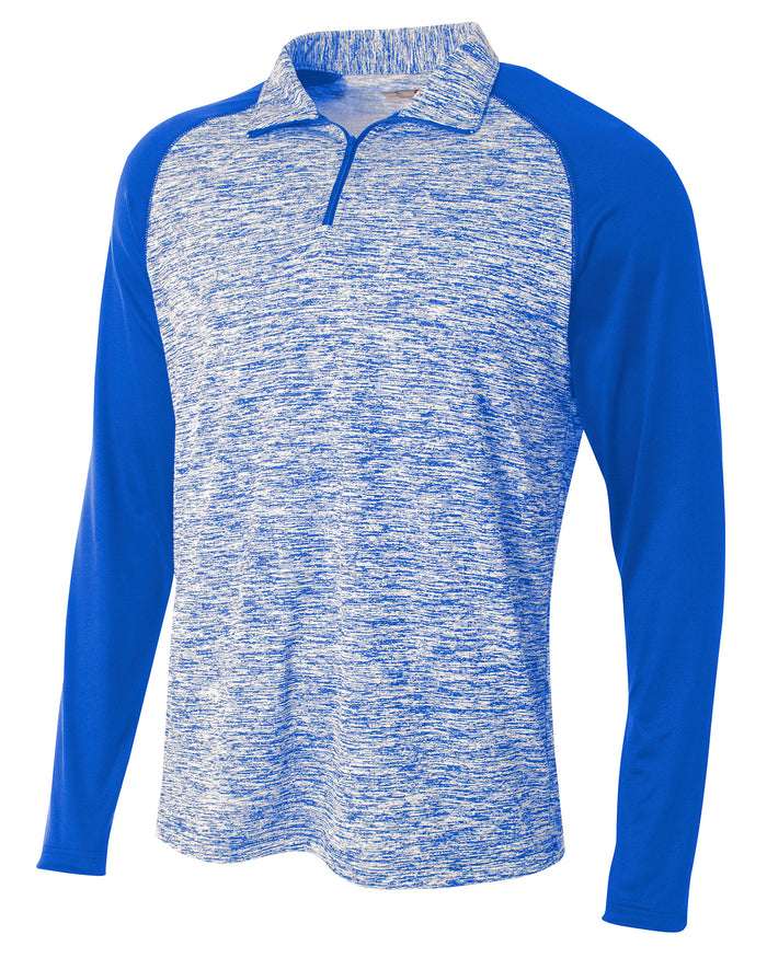 A4 Adult Space-Dye 1/4 Zip with Contrast Sleeve - N4249