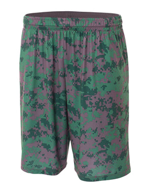 "A4 Adult 10"" Inseam Printed Camo Performance Shorts - N5322"