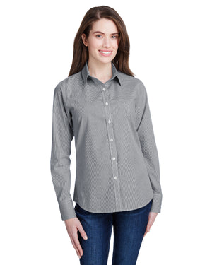 Artisan Collection by Reprime Ladies' Microcheck Gingham Long-Sleeve Cotton Shirt - RP320