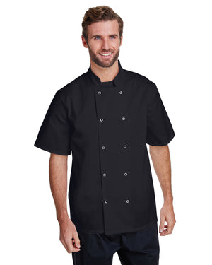 Artisan Collection by Reprime Unisex Studded Front Short-Sleeve Chef's Coat - RP664