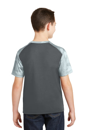 Sport-Tek Youth CamoHex Colorblock Tee. YST371