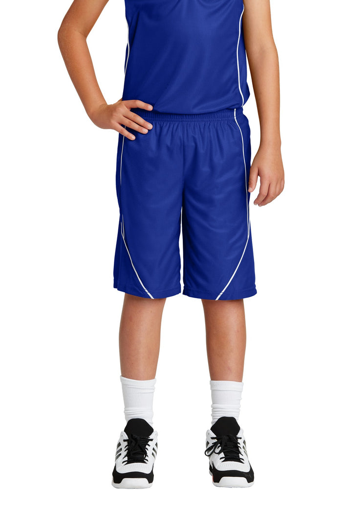 Sport-Tek Youth PosiCharge Mesh Reversible Spliced Short. YT565