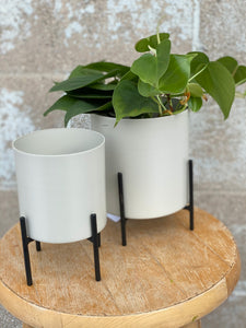 Cream Metal Cylinder Pot with Black Metal Stand