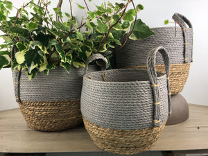 Grey and Natural Straw Basket