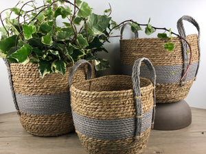 Grey Stripe Natural Straw Basket
