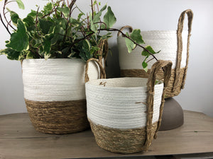 White and Natural Straw Basket