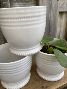"4"" White Glazed Pot"
