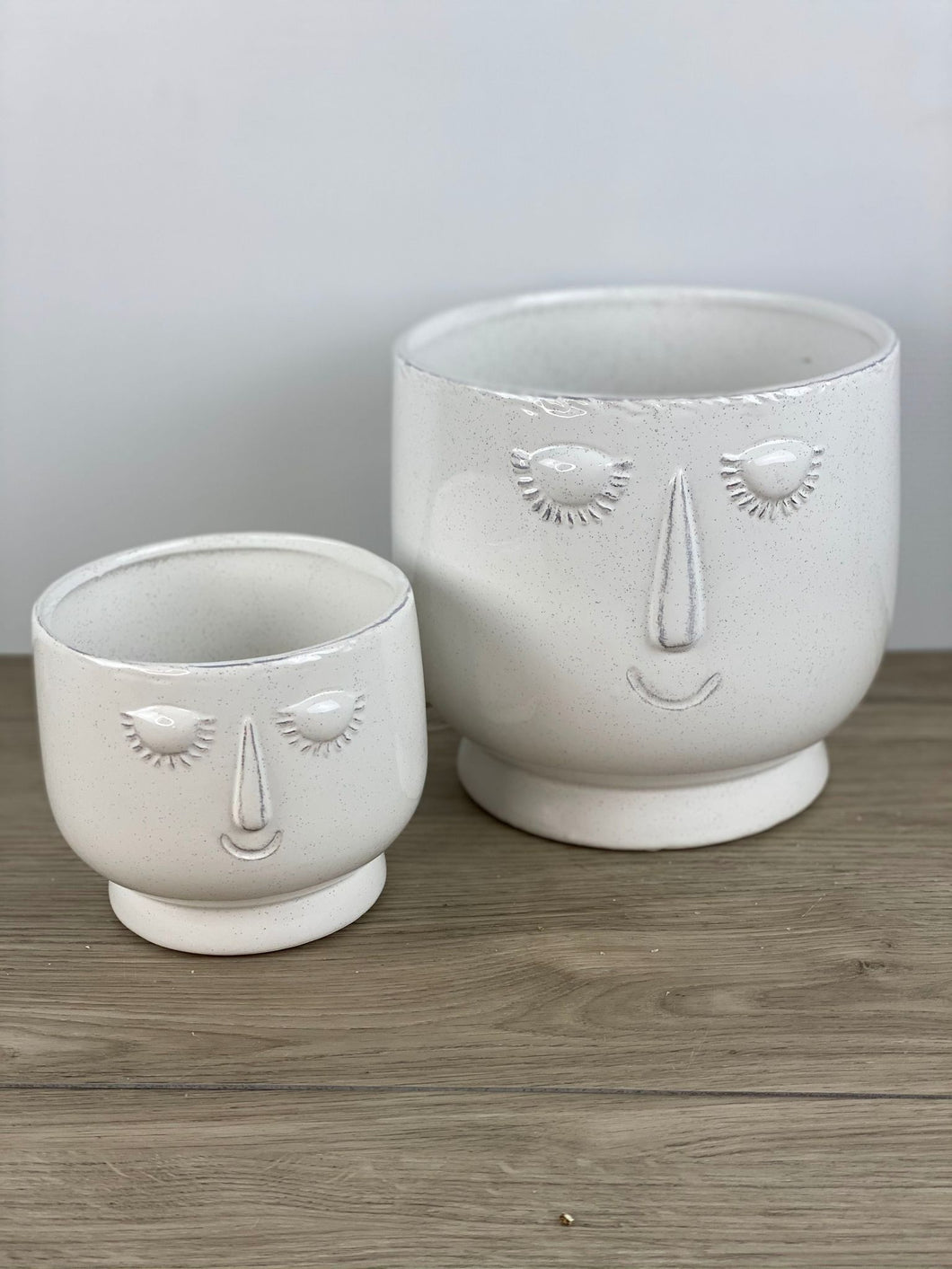 White Ceramic Face Pot