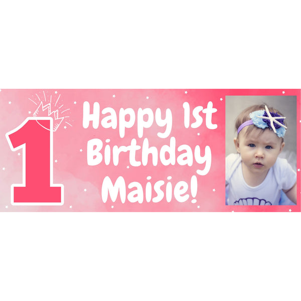 Personalised 1st Birthday Pink Banner - House Of Party