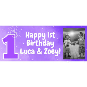 Personalised 1st Birthday Purple Banner - House Of Party