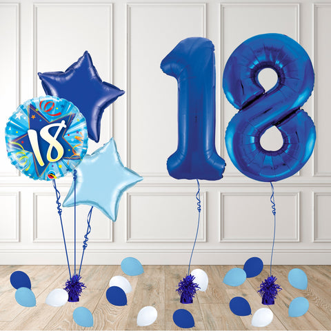 Inflated Blue 18 Balloon Package