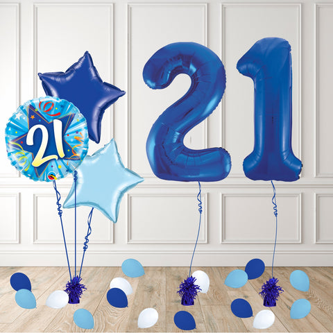 Inflated Blue 21 Balloon Package