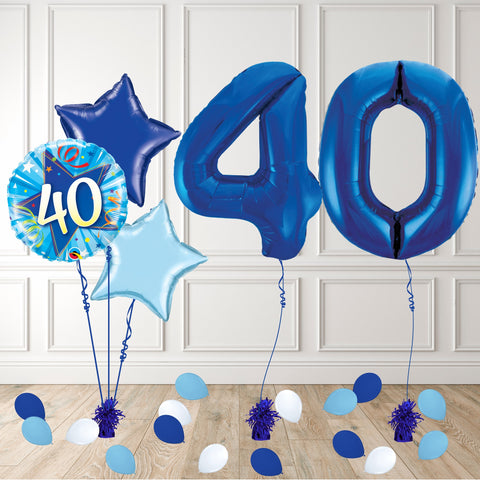 Inflated Blue 40 Balloon Package