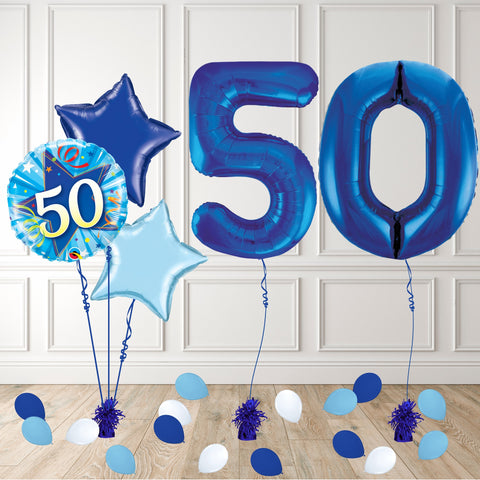 Inflated Blue 50 Balloon Package