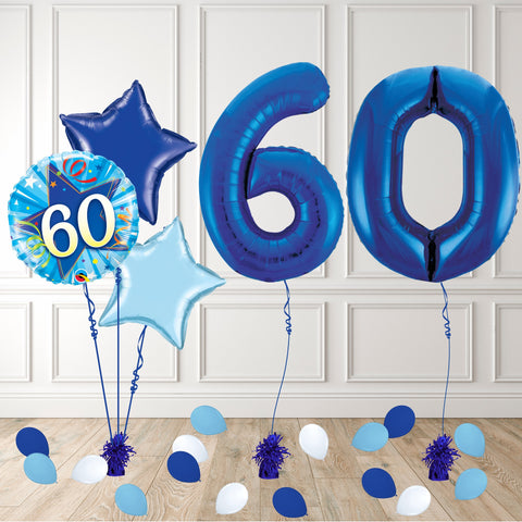 Inflated Blue 60 Balloon Package