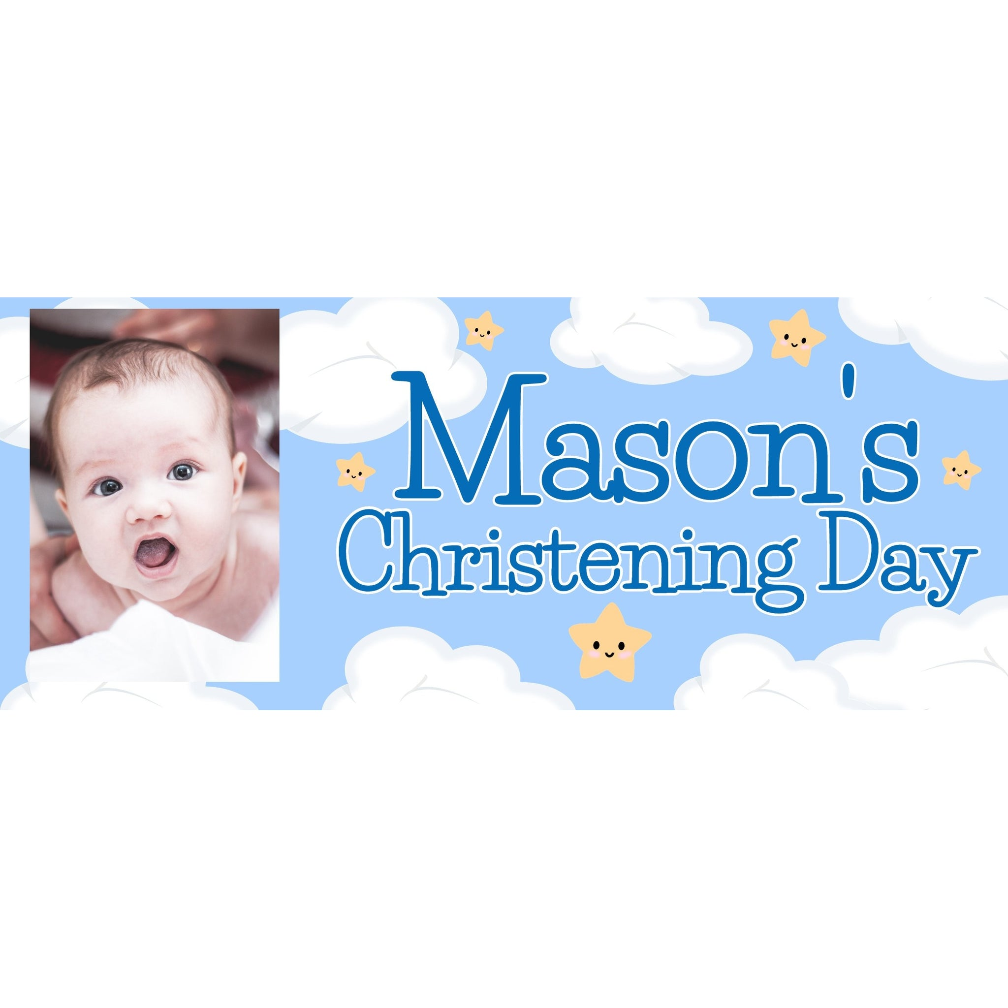 Personalised Blue Christening Banner - House Of Party