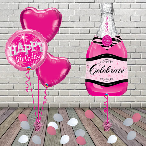Inflated Pink Bubbly Birthday Package - House Of Party