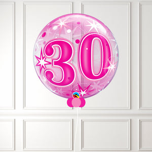 Inflated Age 30 Pink Sparkle Bubble
