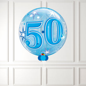 Inflated Age 50 Blue Sparkle Bubble