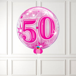 Inflated Age 50 Pink Sparkle Bubble