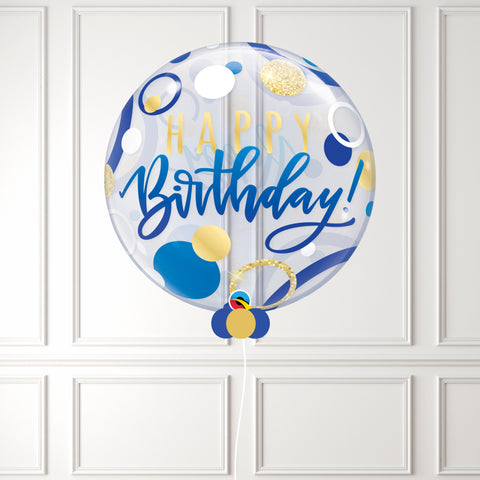 Inflated Birthday Blue & Gold Dots Bubble