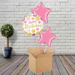 Inflated Birthday Dots Rose Foil Bouquet