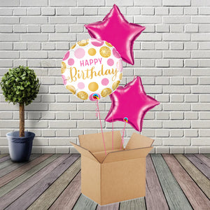 Inflated Birthday Dots Magenta Foil Bouquet