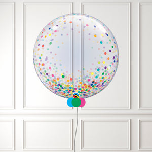 Rainbow Confetti Dots Bubble Balloon