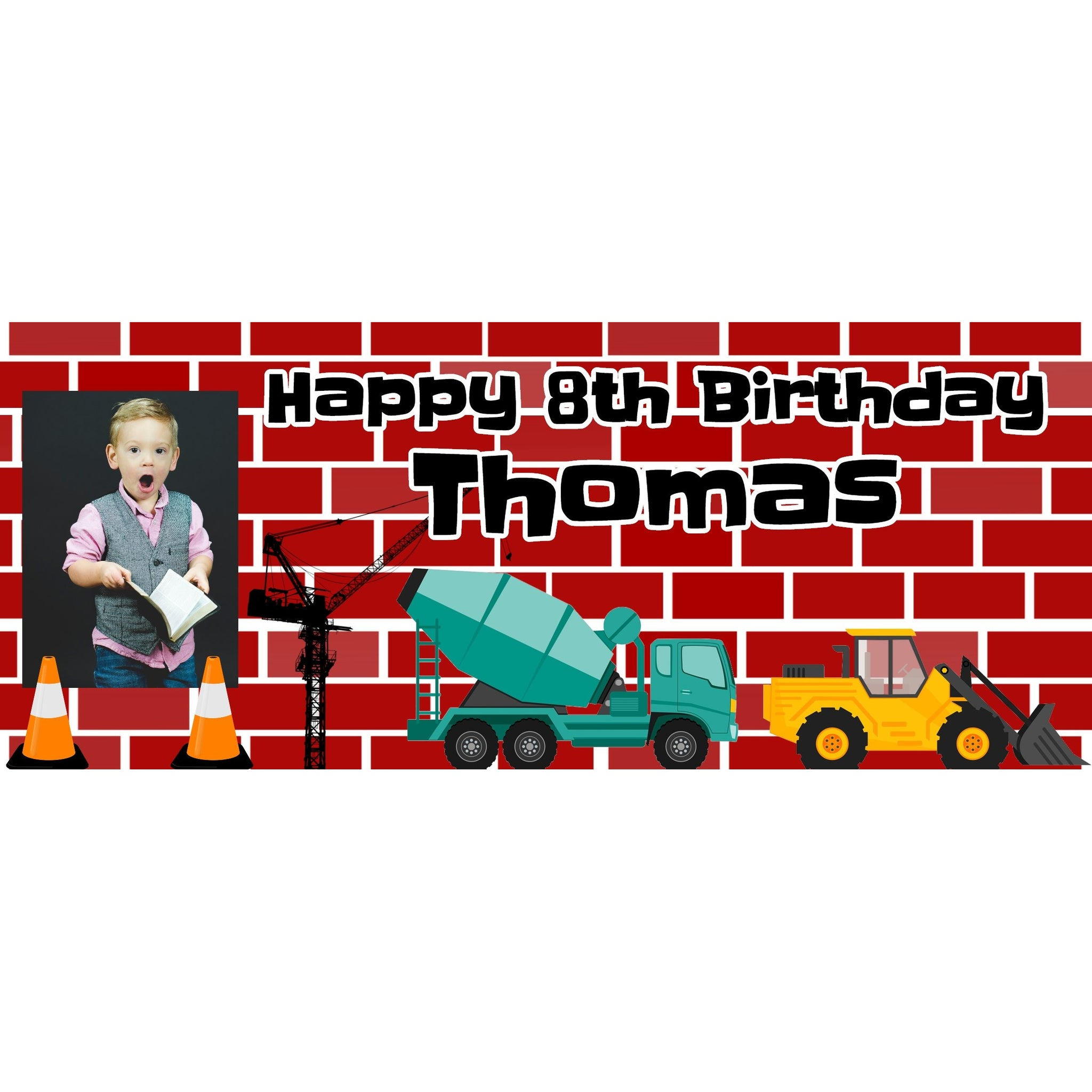 Personalised Construction Trucks Banner - House Of Party