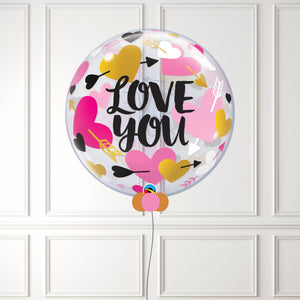 Love You Hearts & Arrows Bubble Balloon