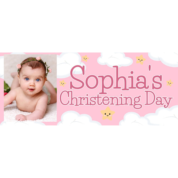 Personalised Pink Christening Banner - House Of Party