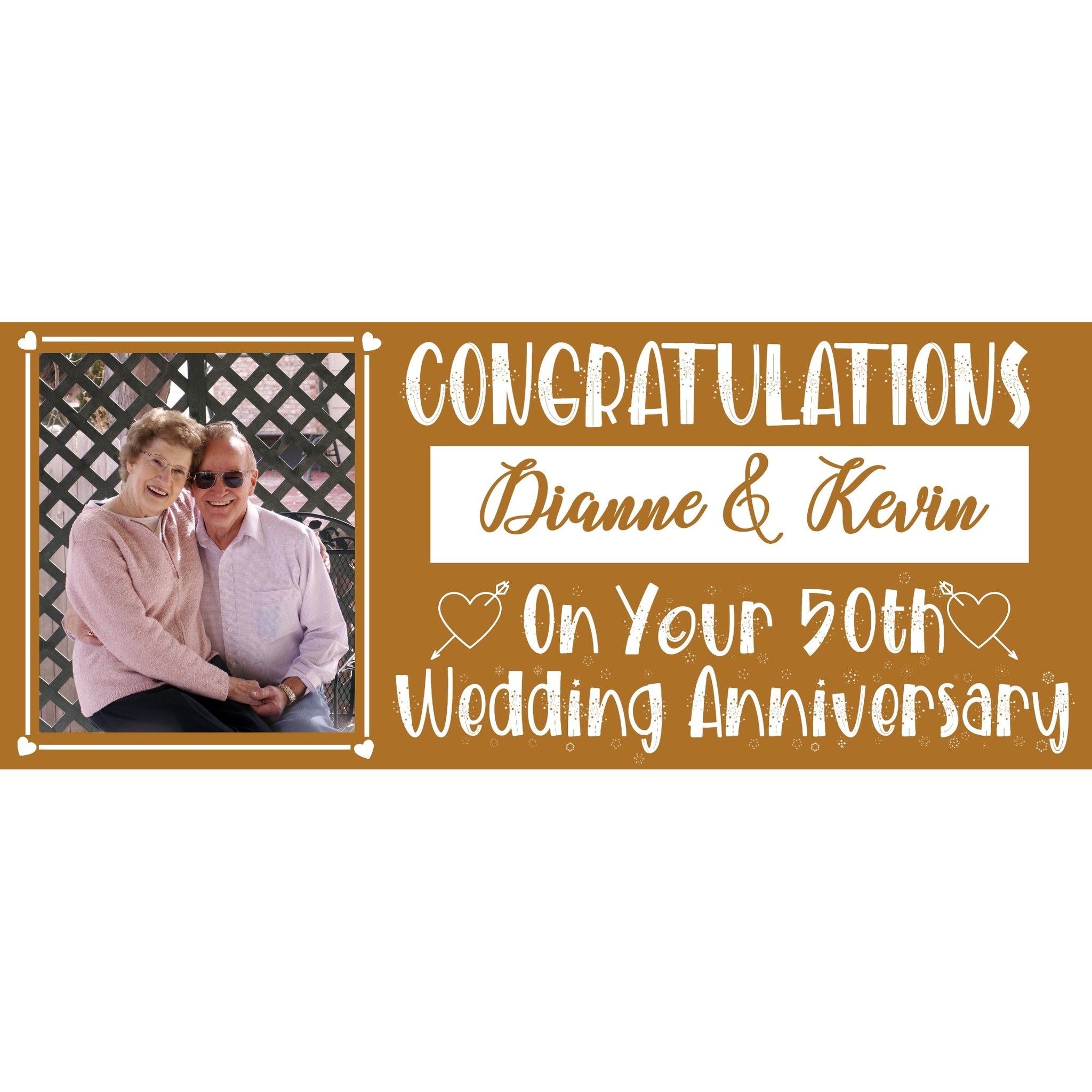 Personalised Gold Wedding Anniversary Banner - House Of Party