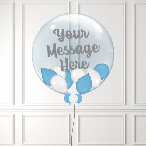 Inflated Blue & White Mini Balloon Bubble