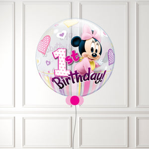 Inflated Minnie Mouse 1st Birthday Bubble