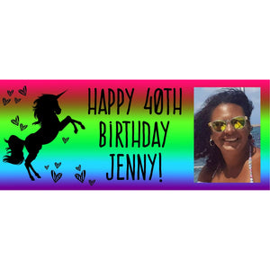 Personalised Neon Rainbow Unicorn Banner - House Of Party