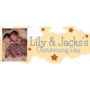 Personalised Neutral Christening Banner - House Of Party