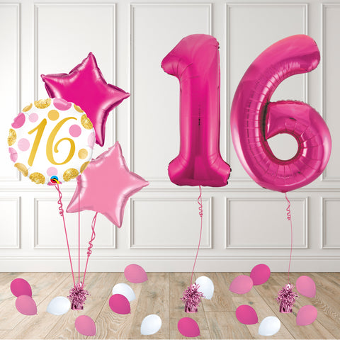 Inflated Pink 16 Balloon Package